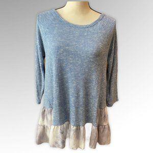 Two tone rib knit top